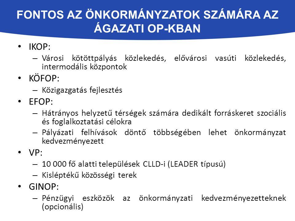 Fontos az önkormányzatok számára az ágazati op-kban