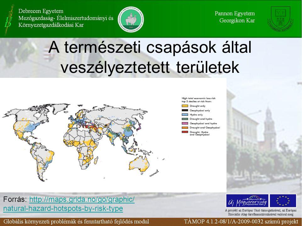 A természeti csapások által veszélyeztetett területek