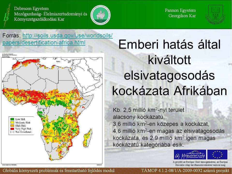 Emberi hatás által kiváltott elsivatagosodás kockázata Afrikában