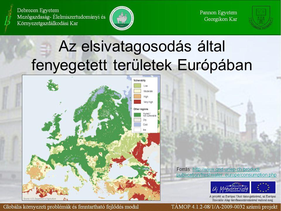 Az elsivatagosodás által fenyegetett területek Európában