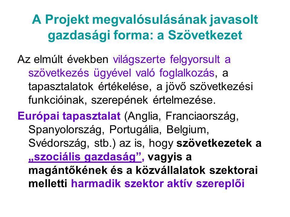 A Projekt megvalósulásának javasolt gazdasági forma: a Szövetkezet