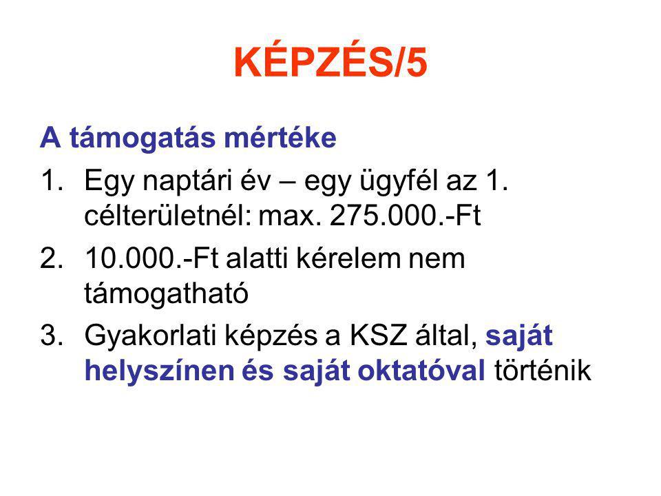 KÉPZÉS/5 A támogatás mértéke