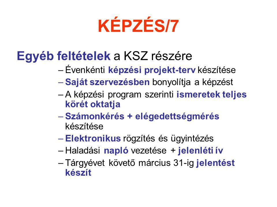 KÉPZÉS/7 Egyéb feltételek a KSZ részére