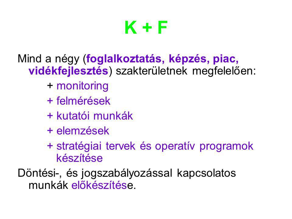K + F Mind a négy (foglalkoztatás, képzés, piac, vidékfejlesztés) szakterületnek megfelelően: + monitoring.