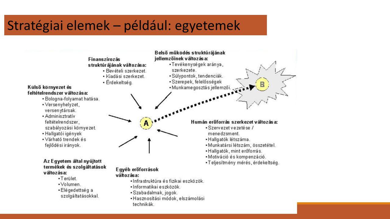 Stratégiai elemek – például: egyetemek