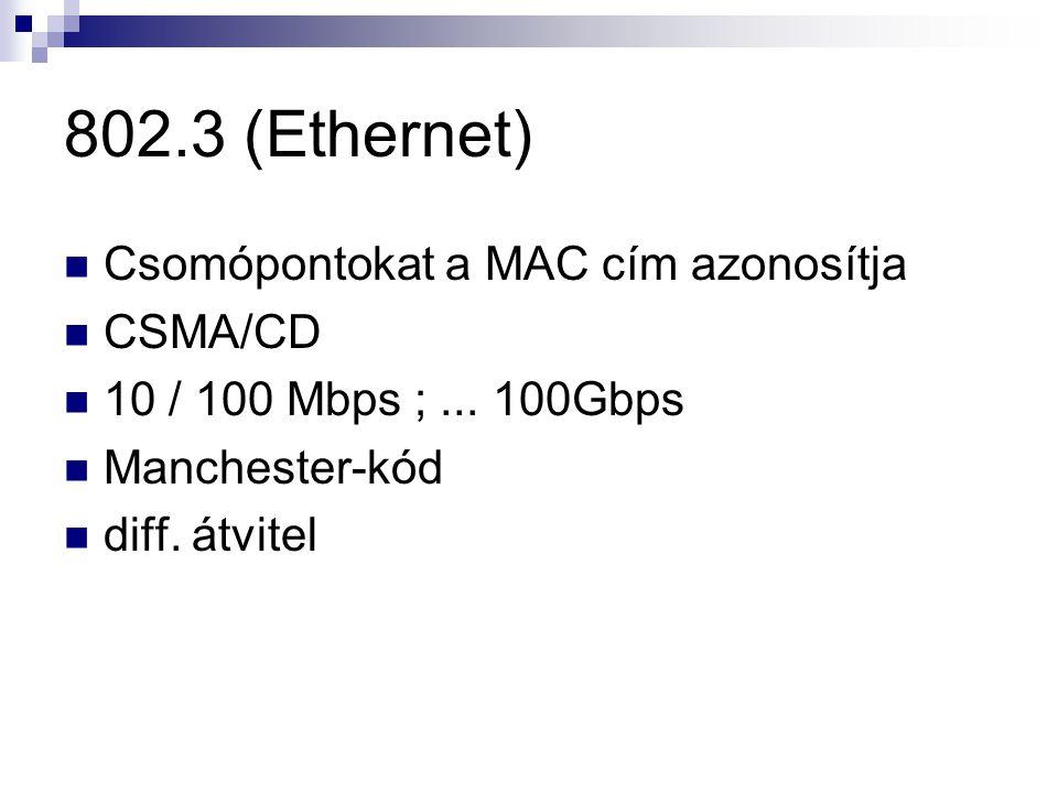 802.3 (Ethernet) Csomópontokat a MAC cím azonosítja CSMA/CD