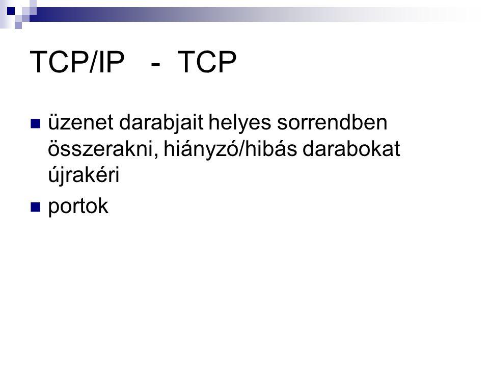 TCP/IP - TCP üzenet darabjait helyes sorrendben összerakni, hiányzó/hibás darabokat újrakéri.