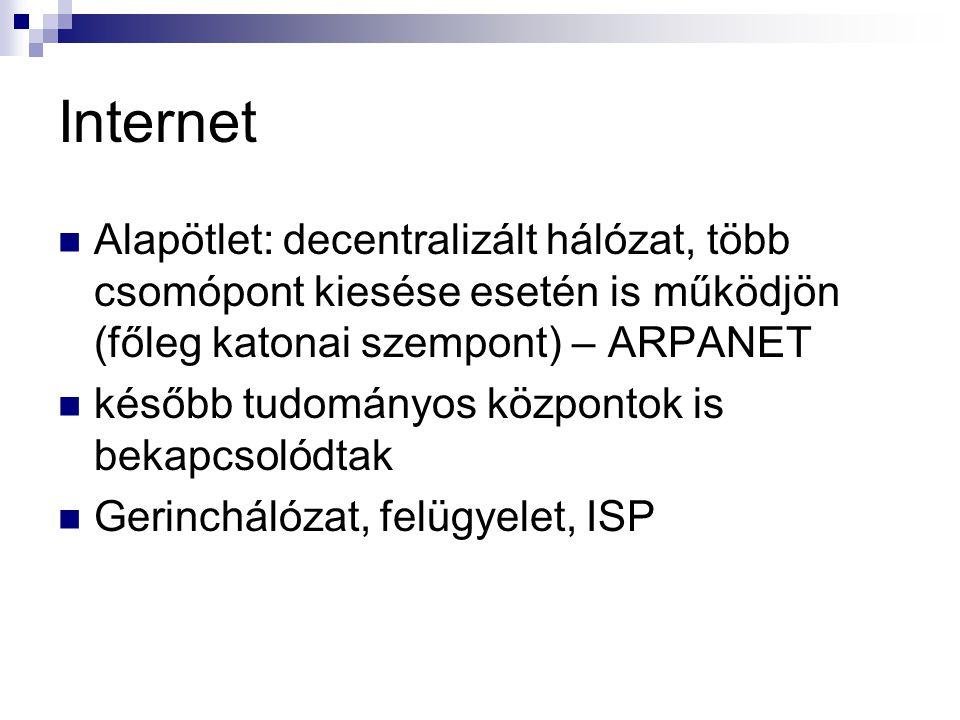 Internet Alapötlet: decentralizált hálózat, több csomópont kiesése esetén is működjön (főleg katonai szempont) – ARPANET.