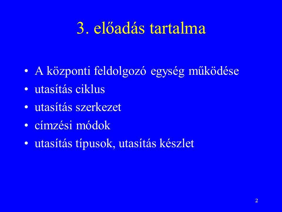 3. előadás tartalma A központi feldolgozó egység működése