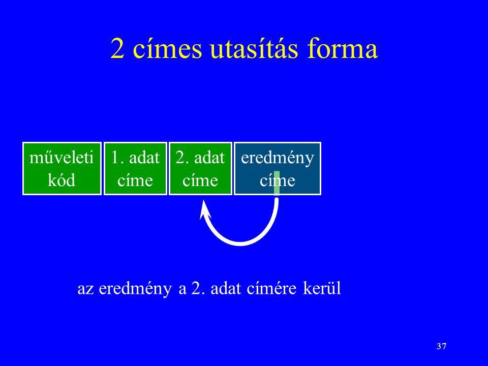 2 címes utasítás forma műveleti kód 1. adat címe 2. adat címe eredmény