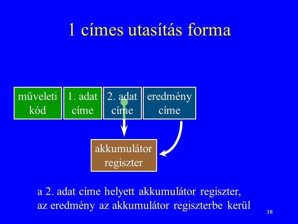 1 címes utasítás forma műveleti kód 1. adat címe 2. adat címe eredmény