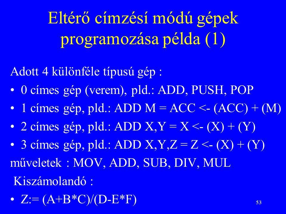 Eltérő címzésí módú gépek programozása példa (1)