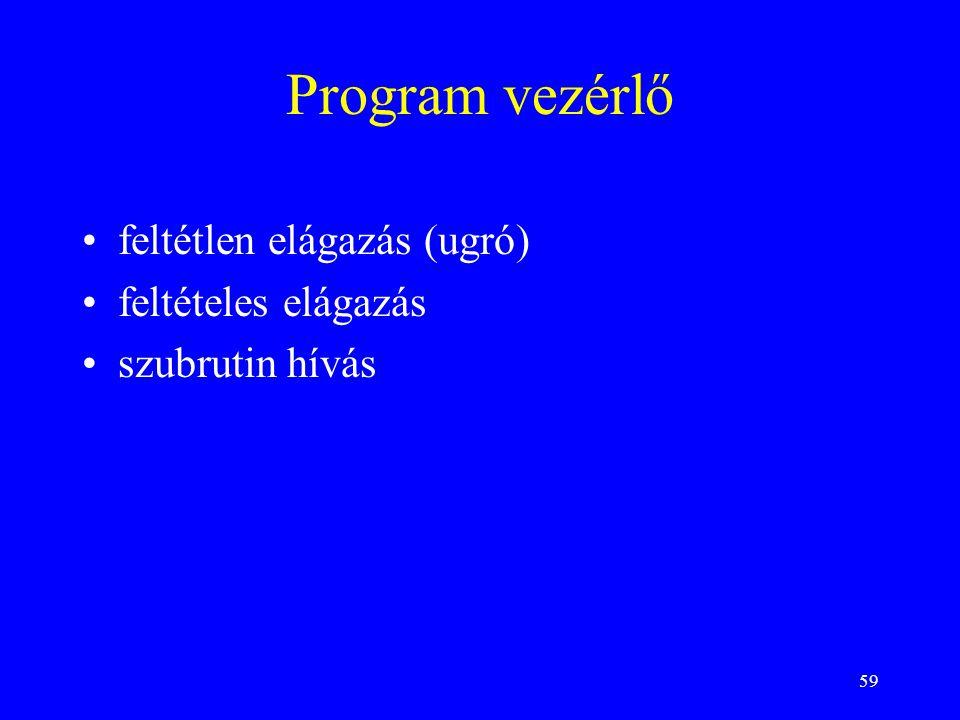 Program vezérlő feltétlen elágazás (ugró) feltételes elágazás
