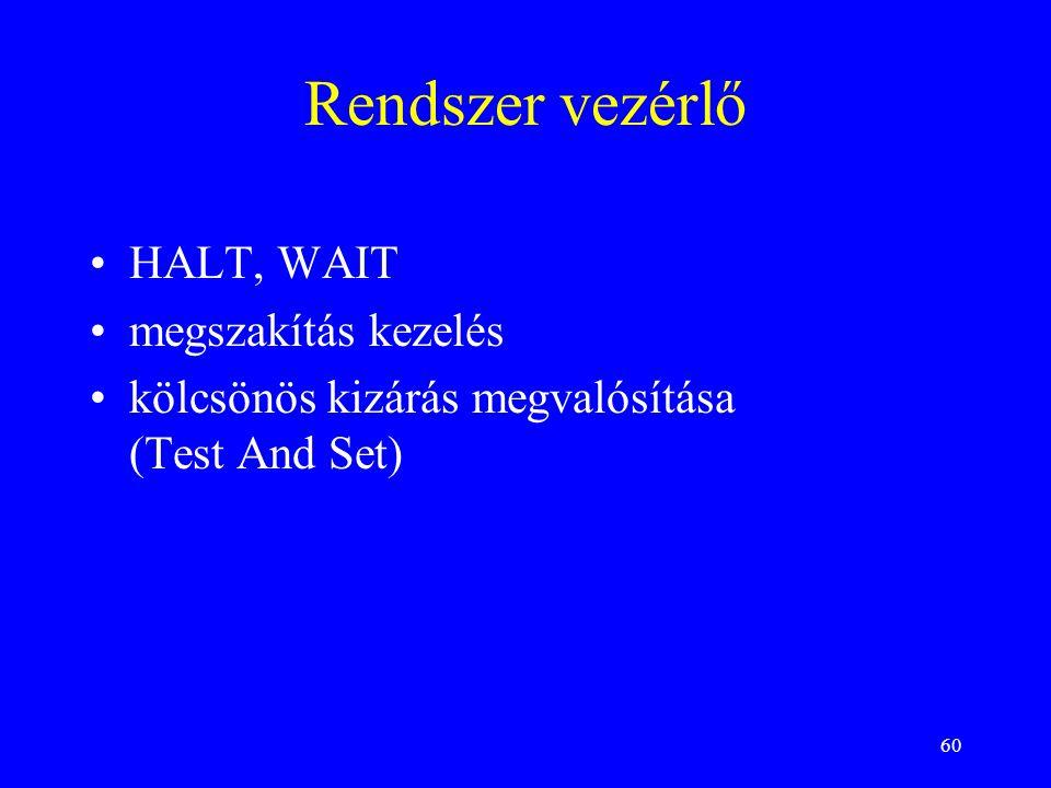 Rendszer vezérlő HALT, WAIT megszakítás kezelés