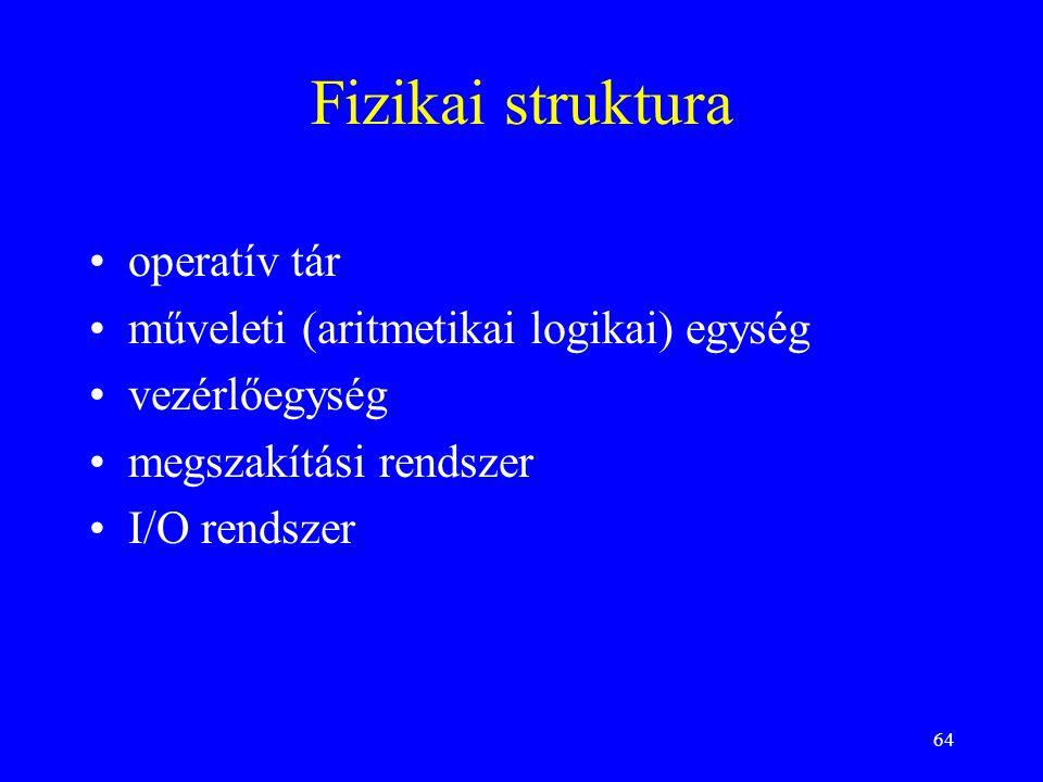 Fizikai struktura operatív tár műveleti (aritmetikai logikai) egység