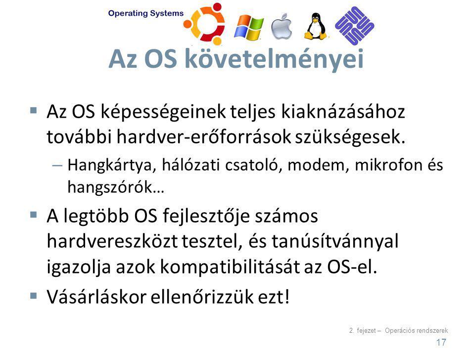 Az OS követelményei Az OS képességeinek teljes kiaknázásához további hardver-erőforrások szükségesek.