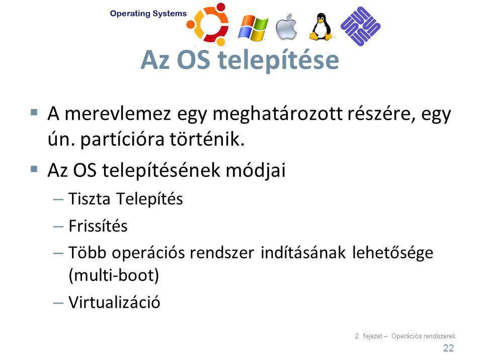 Az OS telepítése A merevlemez egy meghatározott részére, egy ún. partícióra történik. Az OS telepítésének módjai.