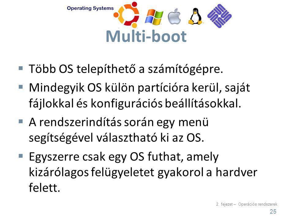 Multi-boot Több OS telepíthető a számítógépre.