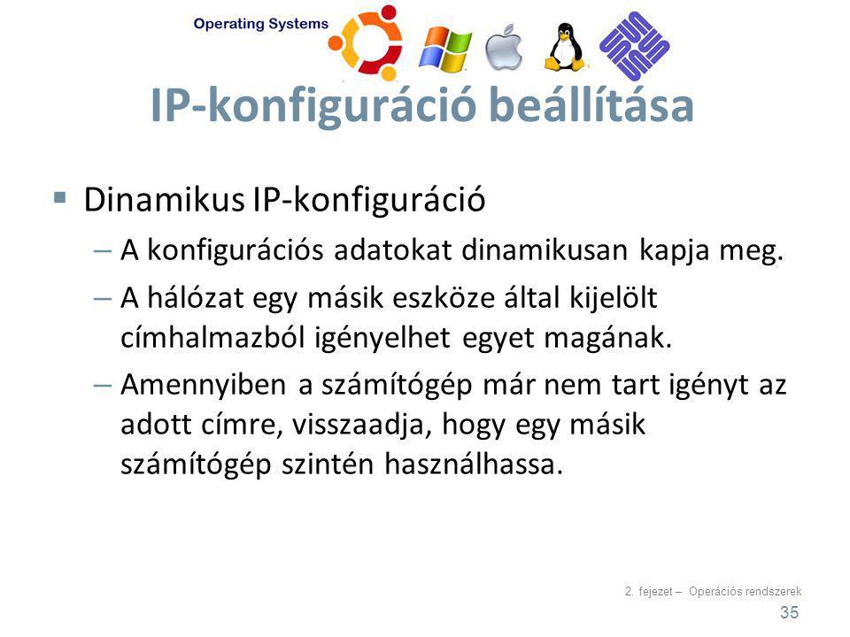 IP-konfiguráció beállítása