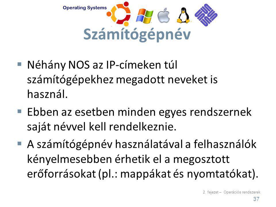 Számítógépnév Néhány NOS az IP-címeken túl számítógépekhez megadott neveket is használ.