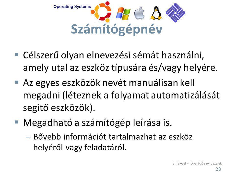 Számítógépnév Célszerű olyan elnevezési sémát használni, amely utal az eszköz típusára és/vagy helyére.