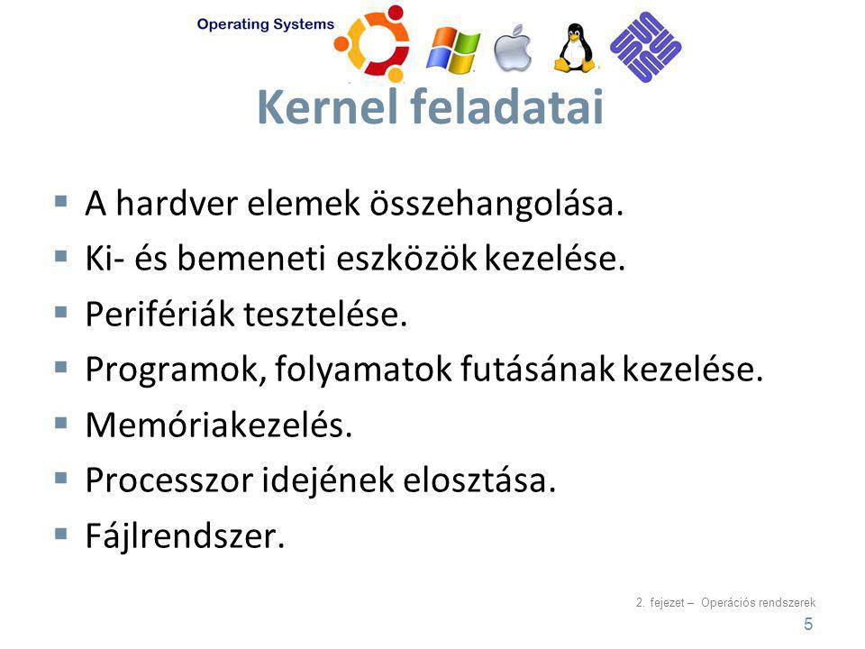 Kernel feladatai A hardver elemek összehangolása.