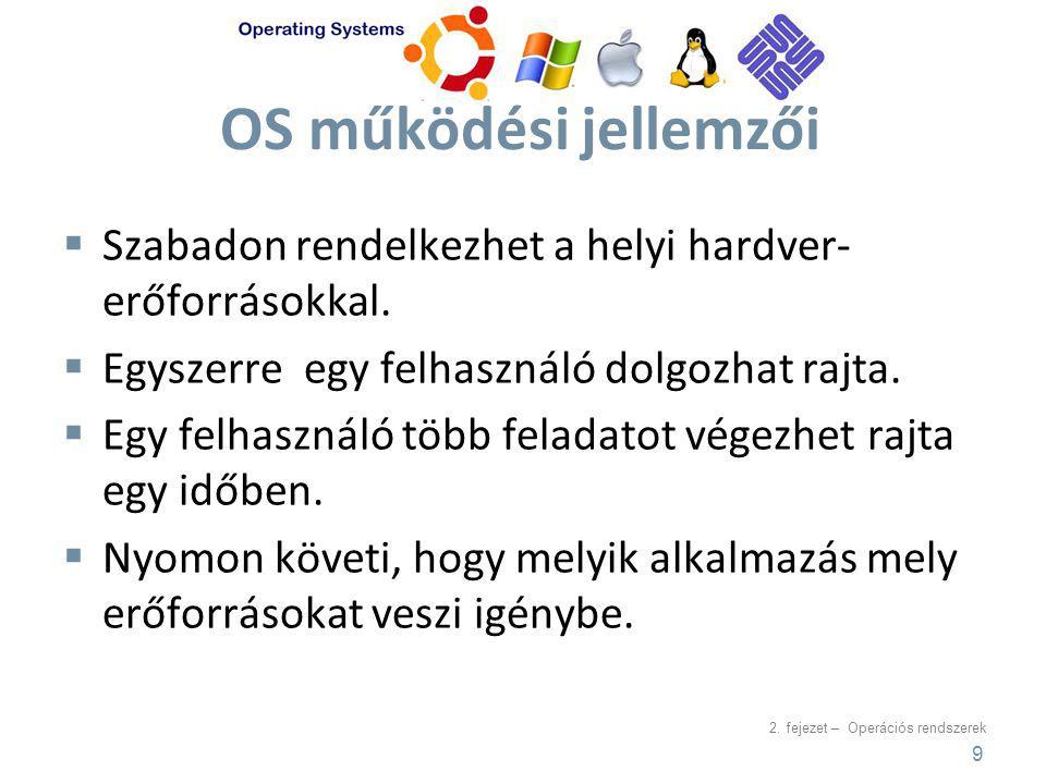 OS működési jellemzői Szabadon rendelkezhet a helyi hardver-erőforrásokkal. Egyszerre egy felhasználó dolgozhat rajta.