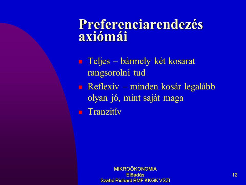 Preferenciarendezés axiómái