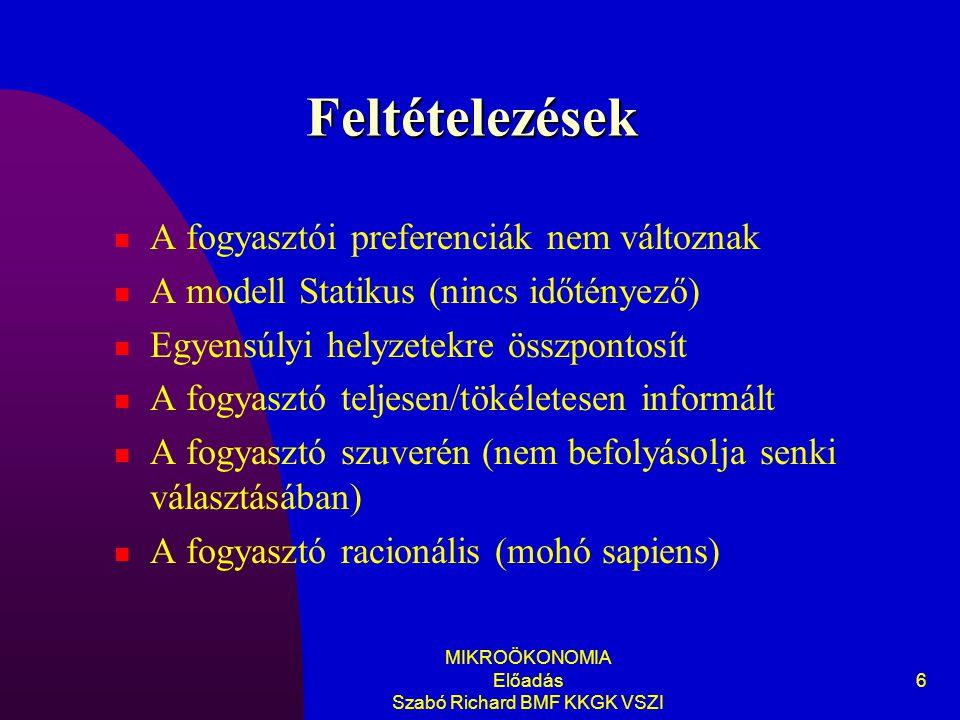 MIKROÖKONOMIA Előadás Szabó Richard BMF KKGK VSZI
