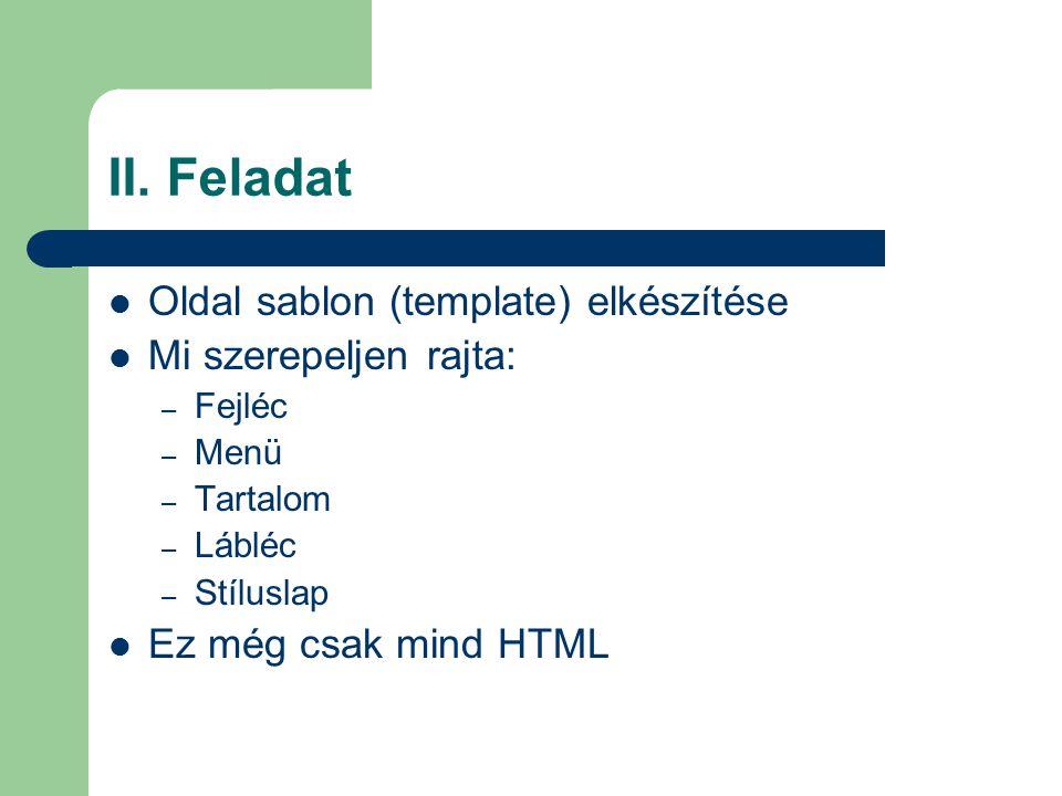 II. Feladat Oldal sablon (template) elkészítése Mi szerepeljen rajta: