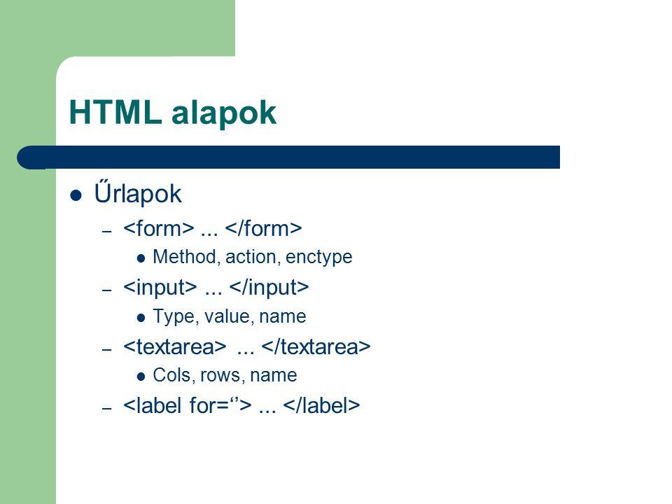 HTML alapok Űrlapok <form> ... </form>