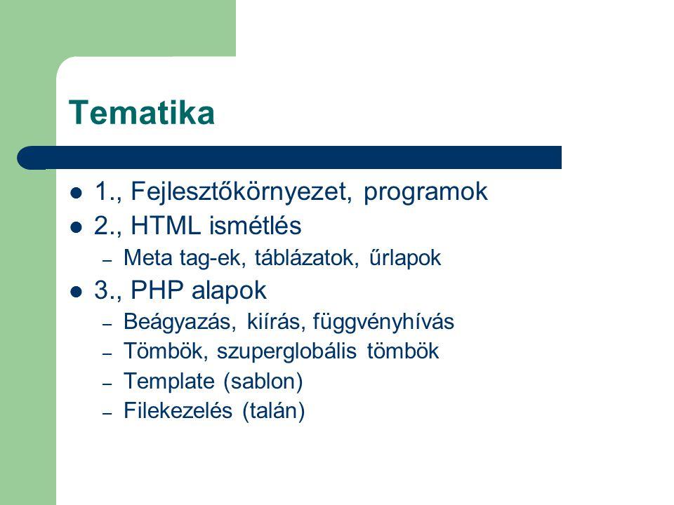Tematika 1., Fejlesztőkörnyezet, programok 2., HTML ismétlés
