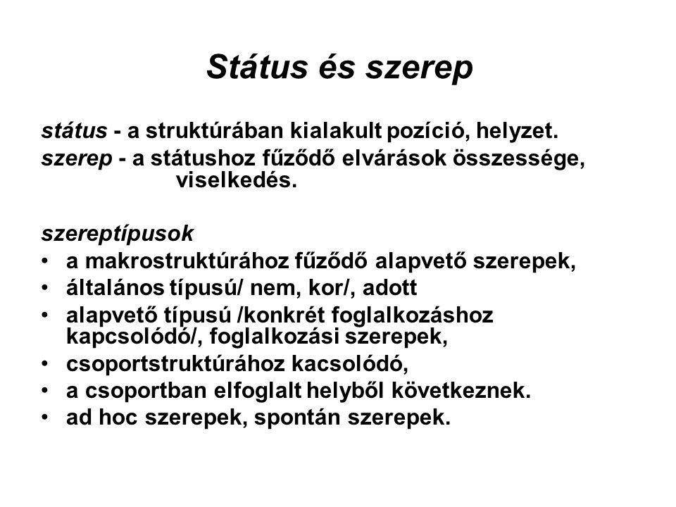 Státus és szerep státus - a struktúrában kialakult pozíció, helyzet.
