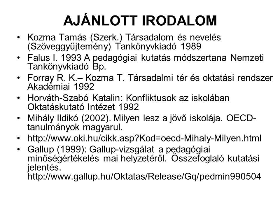 AJÁNLOTT IRODALOM Kozma Tamás (Szerk.) Társadalom és nevelés (Szöveggyűjtemény) Tankönyvkiadó 1989.
