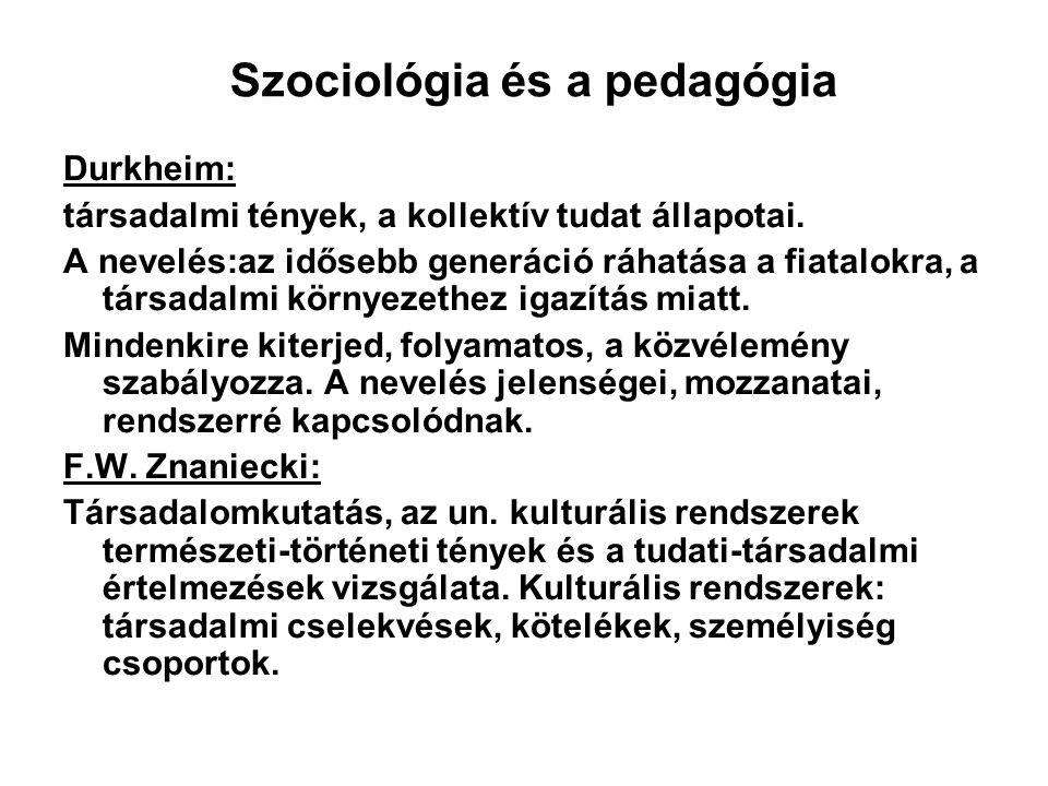 Szociológia és a pedagógia