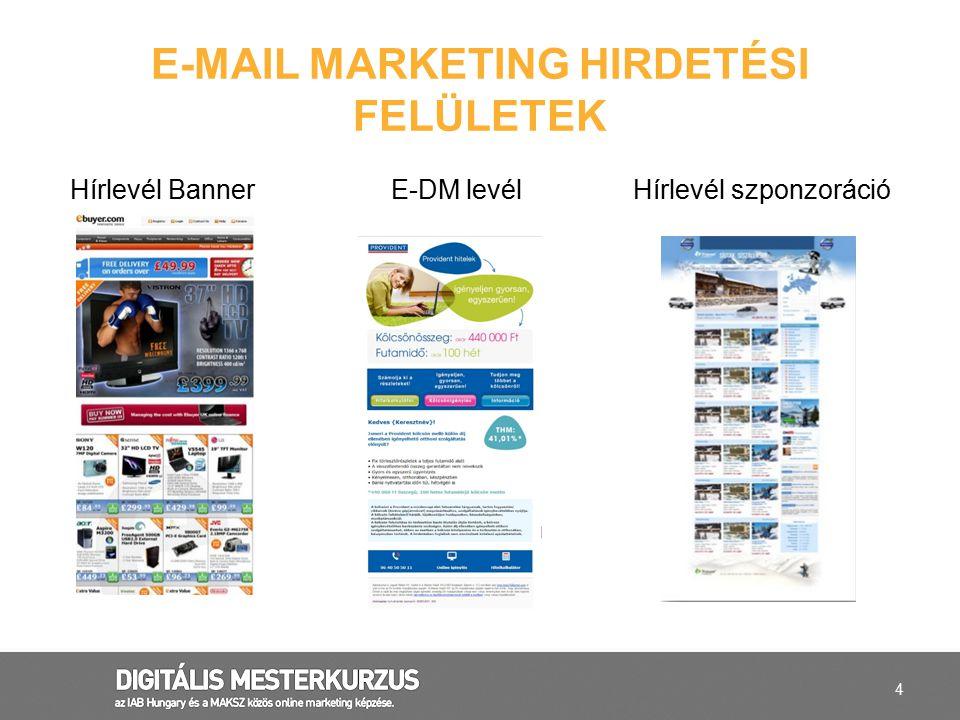 E-mail marketing hirdetési felületek