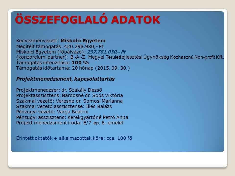 ÖSSZEFOGLALÓ ADATOK Kedvezményezett: Miskolci Egyetem