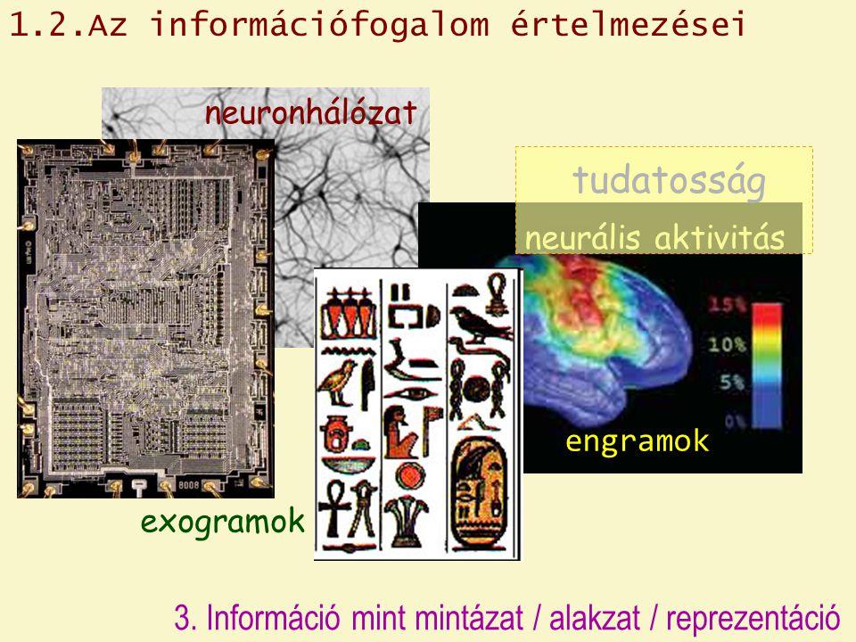 tudatosság 3. Információ mint mintázat / alakzat / reprezentáció