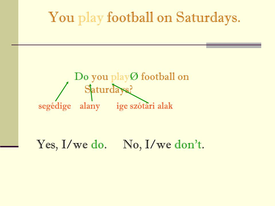 You play football on Saturdays.