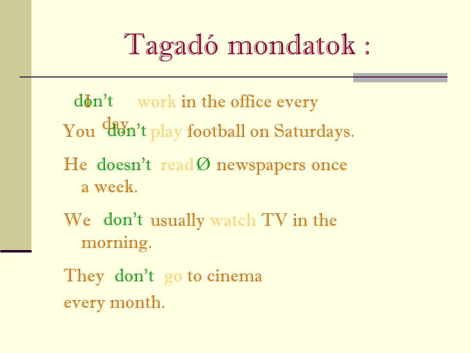 Tagadó mondatok : don't I work in the office every day.