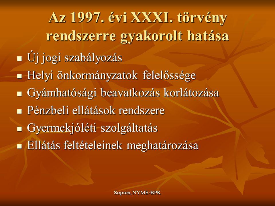 Az 1997. évi XXXI. törvény rendszerre gyakorolt hatása