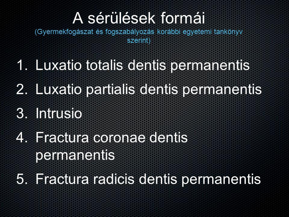 A sérülések formái (Gyermekfogászat és fogszabályozás korábbi egyetemi tankönyv szerint)