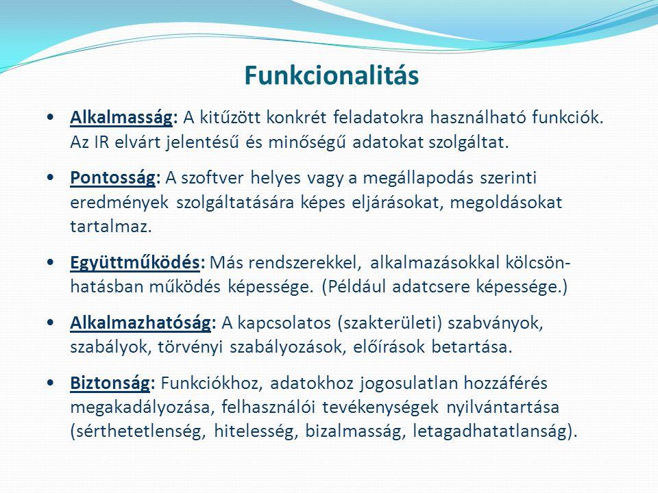 Funkcionalitás Alkalmasság: A kitűzött konkrét feladatokra használható funkciók. Az IR elvárt jelentésű és minőségű adatokat szolgáltat.