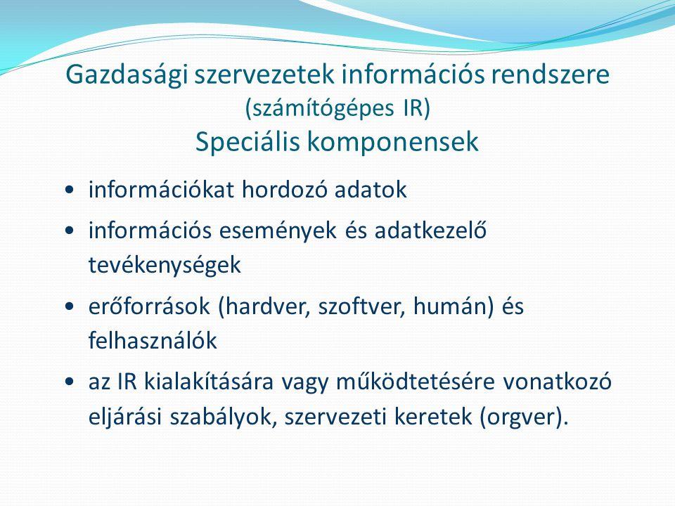 Gazdasági szervezetek információs rendszere (számítógépes IR) Speciális komponensek
