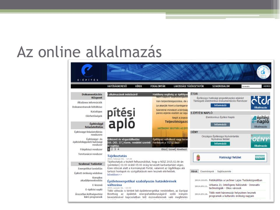 Az online alkalmazás