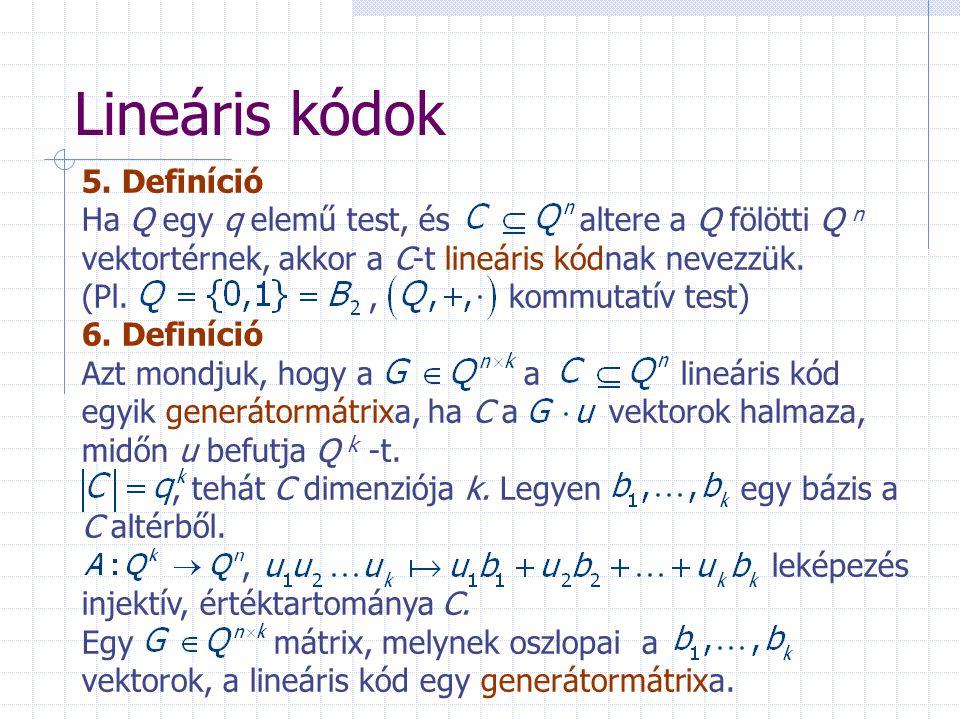Lineáris kódok 5. Definíció