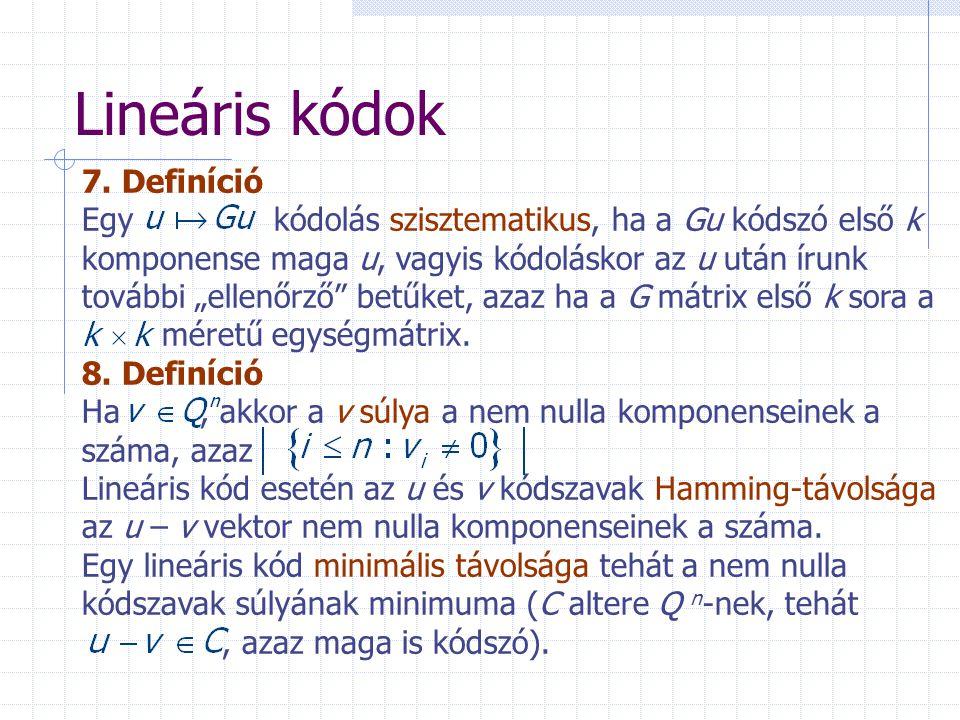 Lineáris kódok 7. Definíció