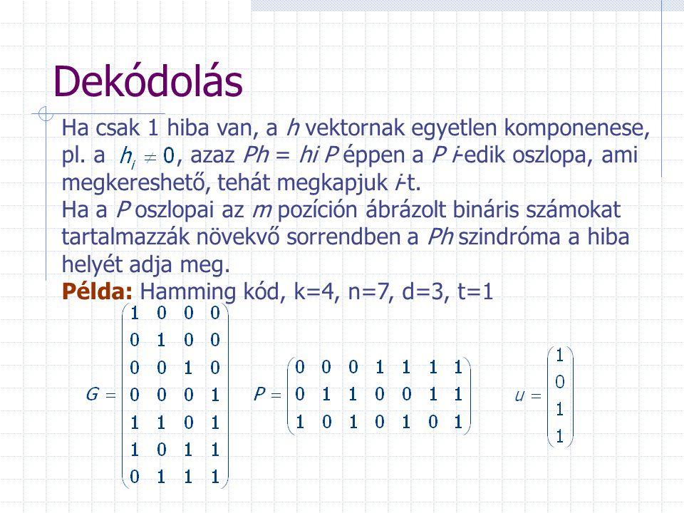 Dekódolás Ha csak 1 hiba van, a h vektornak egyetlen komponenese,