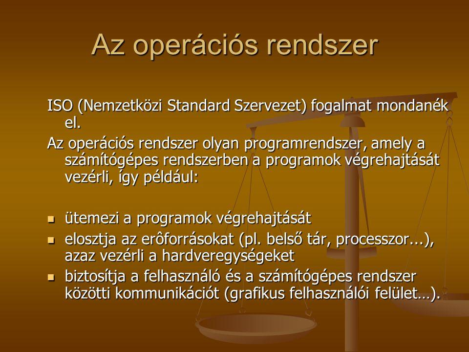 Az operációs rendszer ISO (Nemzetközi Standard Szervezet) fogalmat mondanék el.