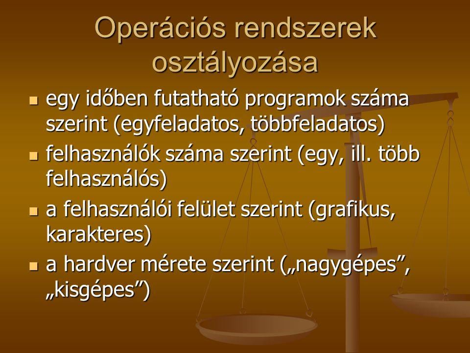 Operációs rendszerek osztályozása